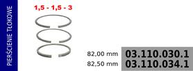 Pierścienie tłokowe kompresora 82,00 mm