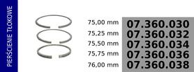 Pierścienie tłokowe kompresora 75,00 mm