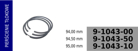 Pierścienie tłokowe kompresora 94,00 mm