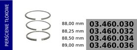 Pierścienie tłokowe kompresora 88,00 mm