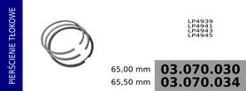 Pierścienie tłokowe kompresora 65,00 mm
