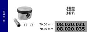 tłok kompresora 70,00 mm