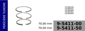 Pierścienie tłokowe kompresora 70,00 mm